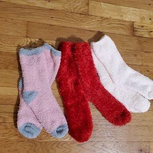 Trio of fuzzy socks